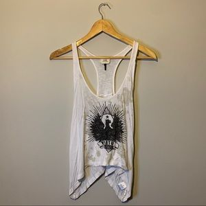 Small white graphic tank top